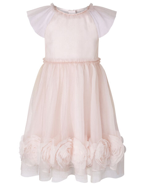 3D Rose Glitter Tulle Dress Pink, Pink (PALE PINK), large
