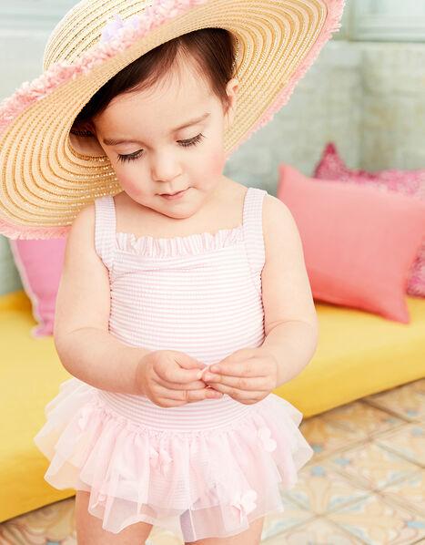 Baby Seersucker Flower Swimsuit  Pink, Pink (PINK), large