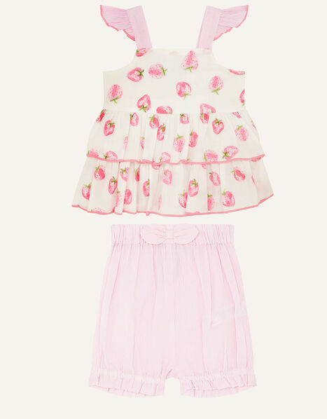 Newborn Strawberry Top and Shorts Pink, Pink (PINK), large