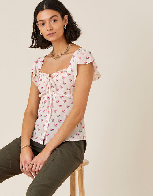 Floral Printed Sweetheart Neck Top, Ivory (IVORY), large