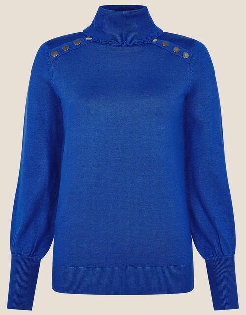 Studded High Neck Jumper, Blue (COBALT), large