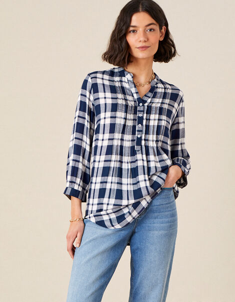Check Longline Shirt Blue, Blue (NAVY), large