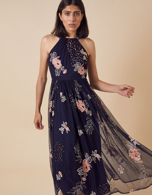 Ellen Floral Embroidery Midi Dress in Recycled Fabric, Blue (NAVY), large
