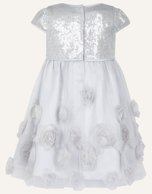 Baby Sequin 3D Rose Dress, Silver (SILVER), large