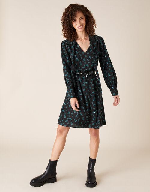 Ditsy Floral Knee-Length Dress, Black (BLACK), large