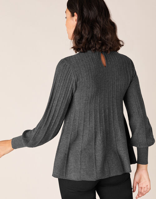 Woven Neckline Knit Jumper with Recycled Polyester, Grey (CHARCOAL), large