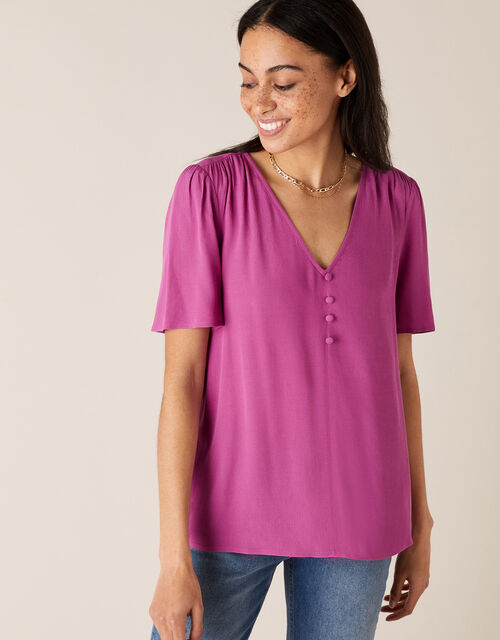 Button Front V-Neck Top, Pink (PINK), large
