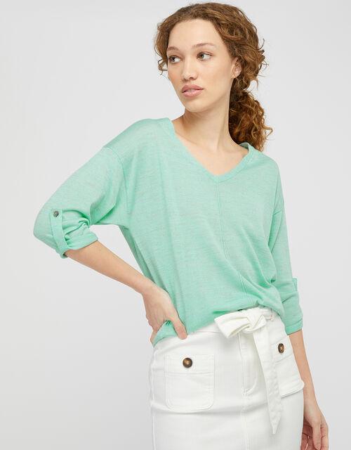 Tilly Tab Sleeve Lightweight Jumper in Linen Blend, Green (MINT), large