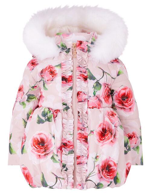 Baby Rose Print Padded Coat, Pink (PALE PINK), large