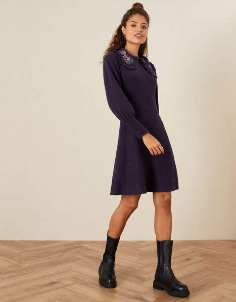 Embroidered Collar Fit and Flare Knit Dress Purple, Purple (PURPLE), large