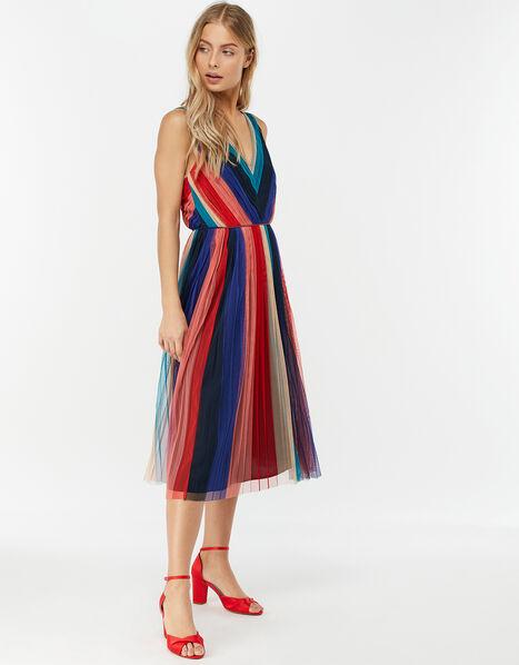 Simone Stripe Pleated Mesh Dress Blue, Blue (NAVY), large