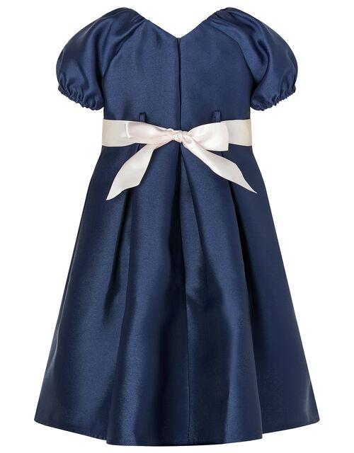 Baby Corsage Belt Duchess Twill Dress, Blue (NAVY), large