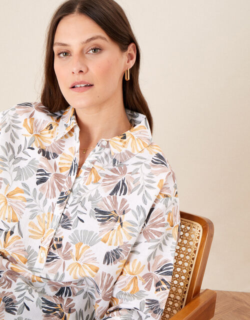 Palm Print Shirt in Linen Blend, Natural (STONE), large