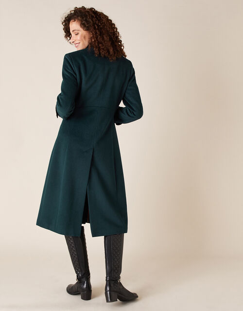 Maddie Military Coat in Wool Blend, Green (GREEN), large