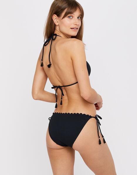 Maria Scalloped Tie Bikini Pants  Black, Black (BLACK), large