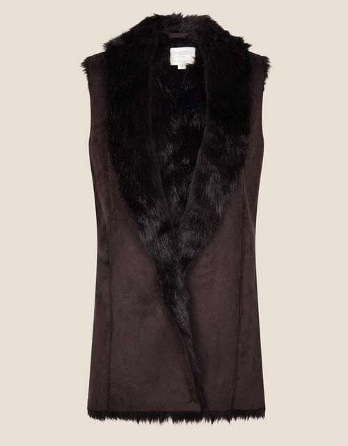 Faux Fur and Suedette Gilet, Brown (CHOCOLATE), large