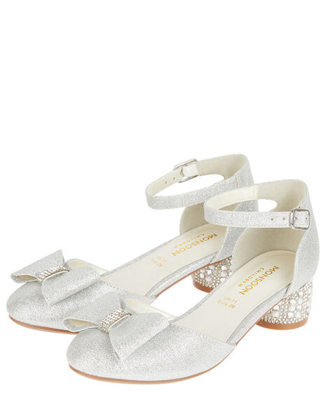 Carly Sparkle Bow Shoes Silver, Silver (SILVER), large