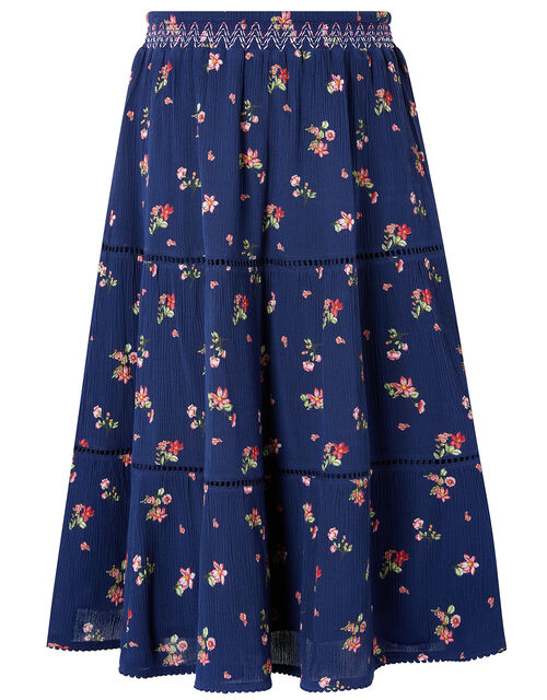 Maida Ditsy Floral Midi Skirt, Blue (NAVY), large