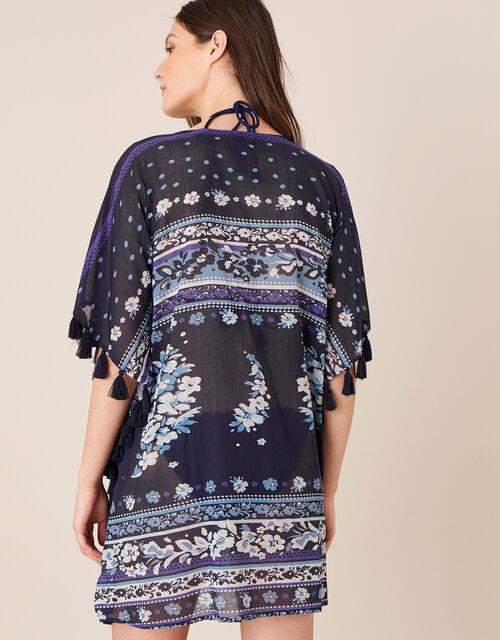 Paisley Print Kaftan in Organic Cotton , Blue (NAVY), large