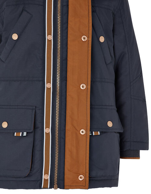 Boys Navy Parka Coat, Blue (NAVY), large