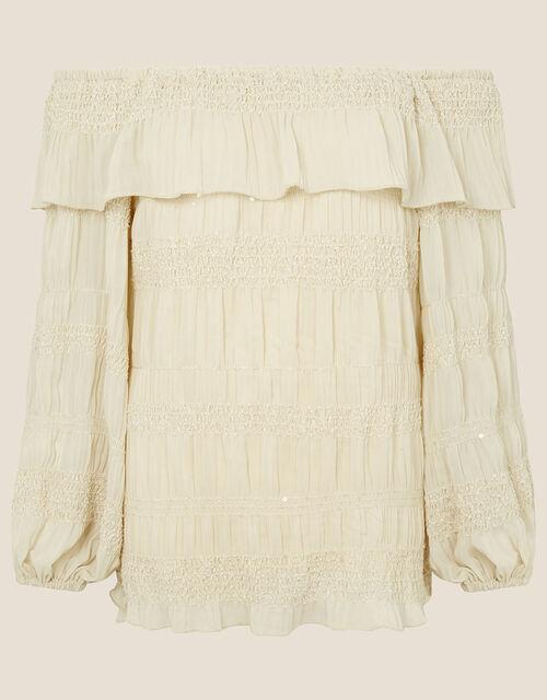 Plain Off-Shoulder Top, Cream (CREAM), large