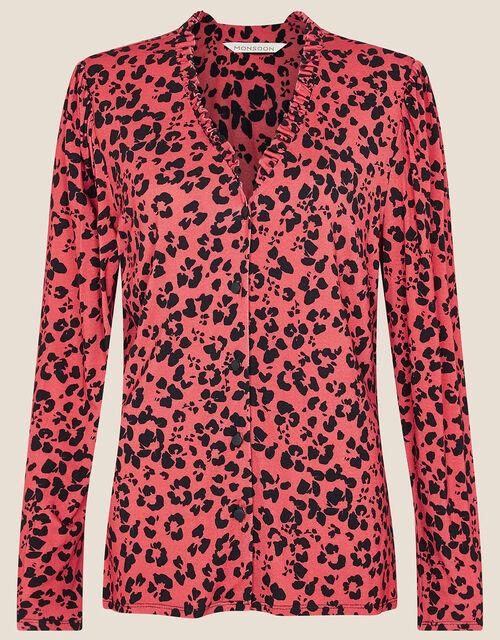 Animal Print Jersey Shirt, Orange (RUST), large
