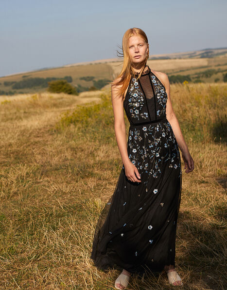 Antonia Floral Embellished Maxi Dress in Recycled Fabric Black, Black (BLACK), large