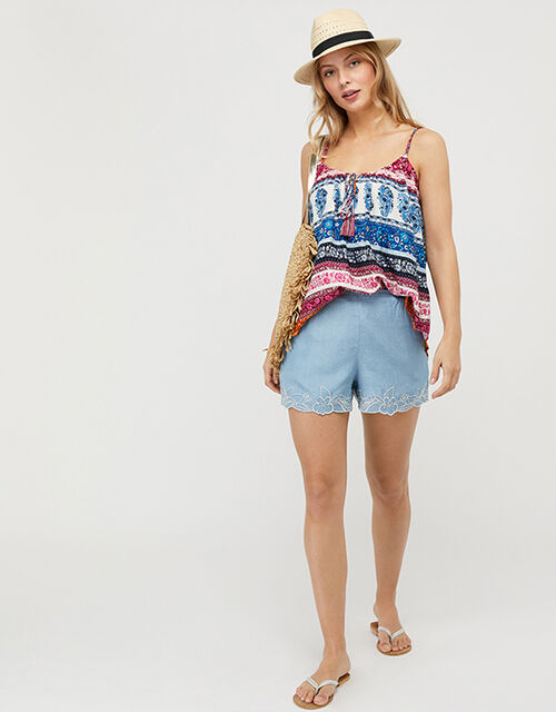 Rupert Striped Floral Cami Top in LENZING™ ECOVERO™, Blue (BLUE), large