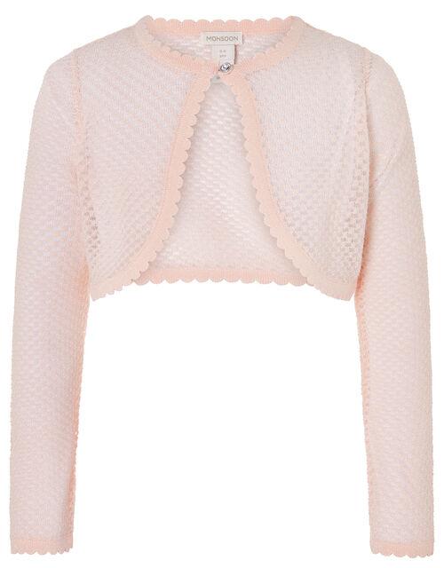 Gracie Shimmer Cropped Cardigan, Pink (PINK), large