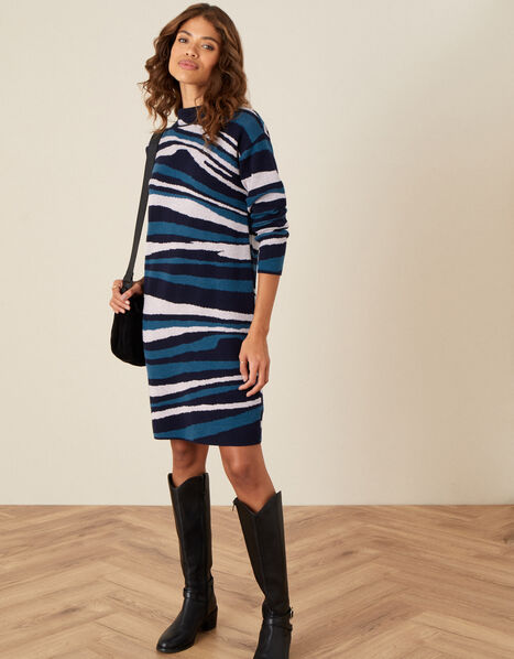Willow Wave Knit Dress Blue, Blue (NAVY), large