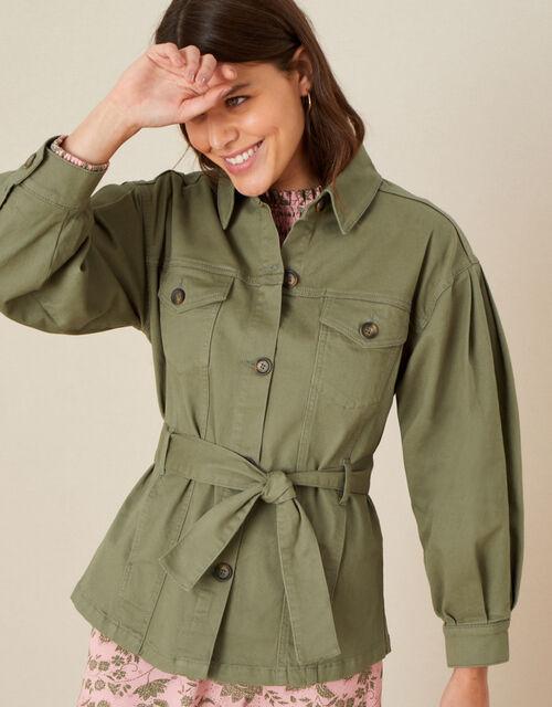 Aisha Cargo Military Jacket, Green (KHAKI), large