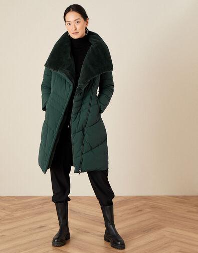 Beverley Faux Fur Collar Coat Green, Green (GREEN), large