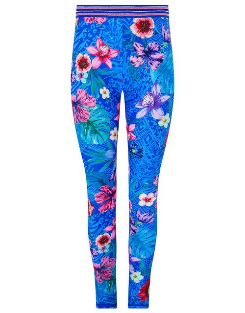 Tikoto Floral Leggings, Blue (BLUE), large