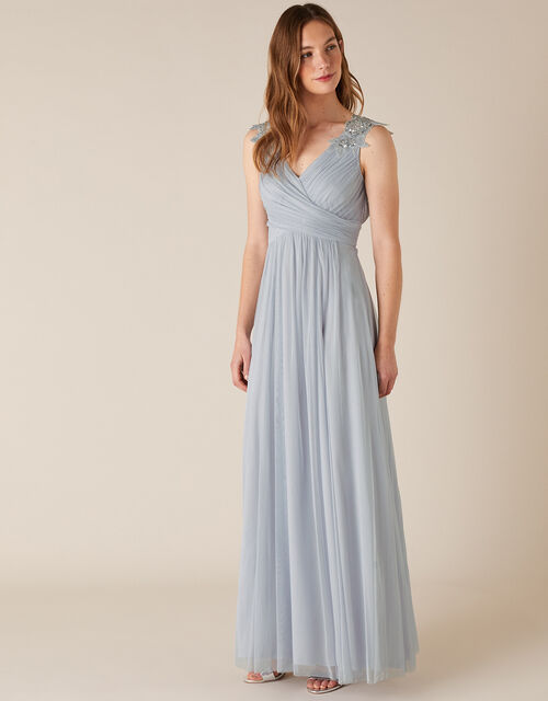 Mischa Embellished Tulle Maxi Dress, Blue (BLUE), large
