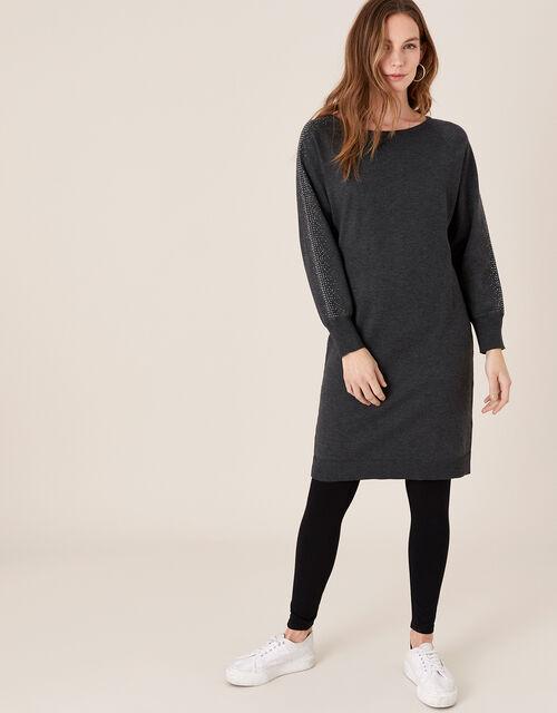 Metallic Gem Sleeve Dolman Dress, Grey (CHARCOAL), large