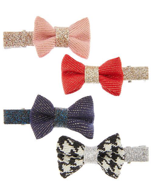 Glitter Bow School Hair Clip Set, , large