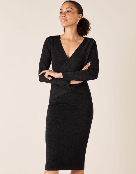 Shimmer Knit Wrap Dress Black, Black (BLACK), large
