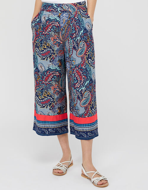 Tenley Paisley Trousers in LENZING™ ECOVERO™, Blue (NAVY), large