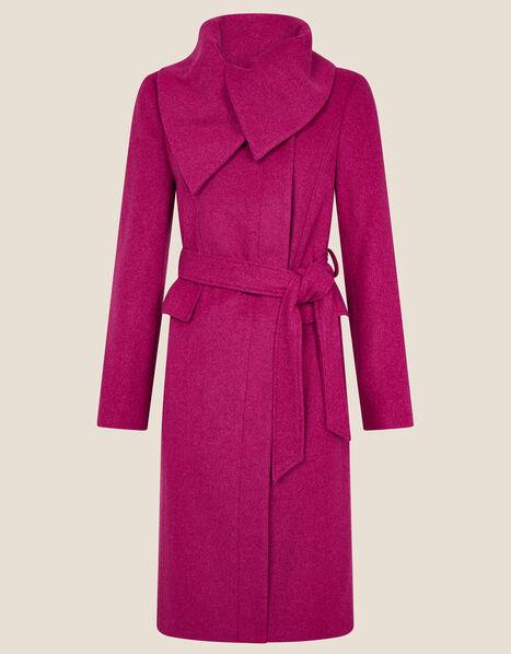 Keryn Wrap Collar Belted Coat Pink, Pink (PINK), large