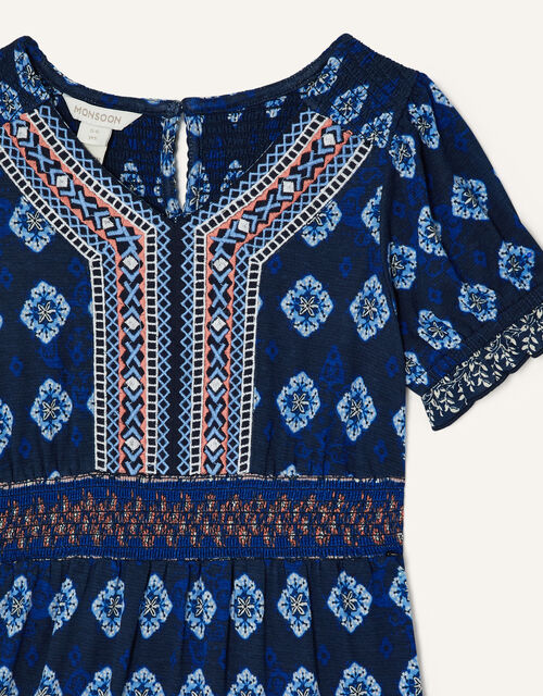 MINI ME Fern Printed Dress, Blue (BLUE), large