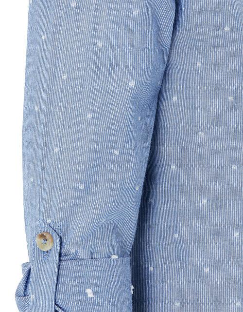 Stuart Printed Grandad Shirt with Long Sleeves, Blue (BLUE), large