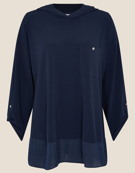 LOUNGE Nieve Jersey Hoody Blue, Blue (NAVY), large