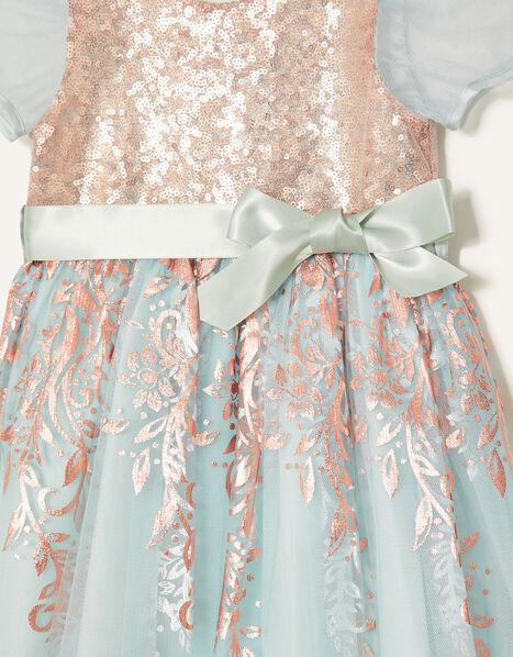 Baby Sequin Foil Dress  Teal, Teal (DUCK EGG), large