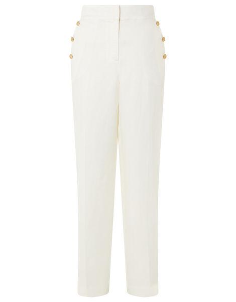 Smart Longer Length Trousers in Linen Blend White, White (WHITE), large