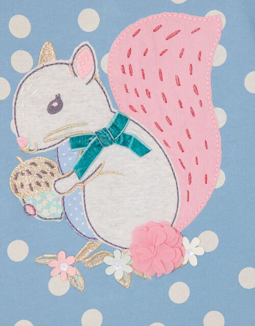 Baby Squirrel Sweat Dress and Tights, Blue (BLUE), large