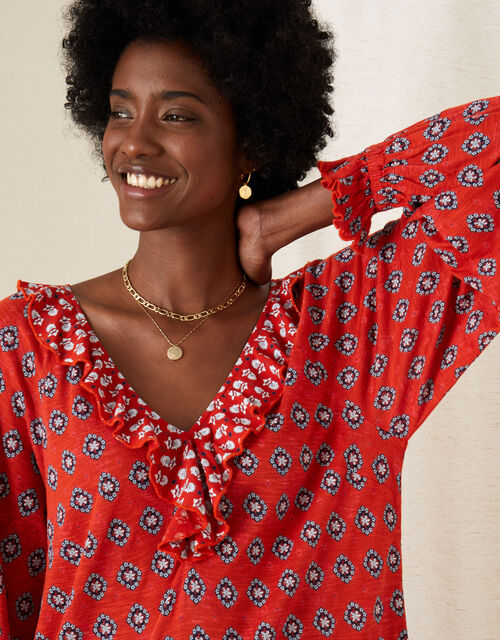 Annelisse Printed Ruffle Jersey Top, Red (RED), large