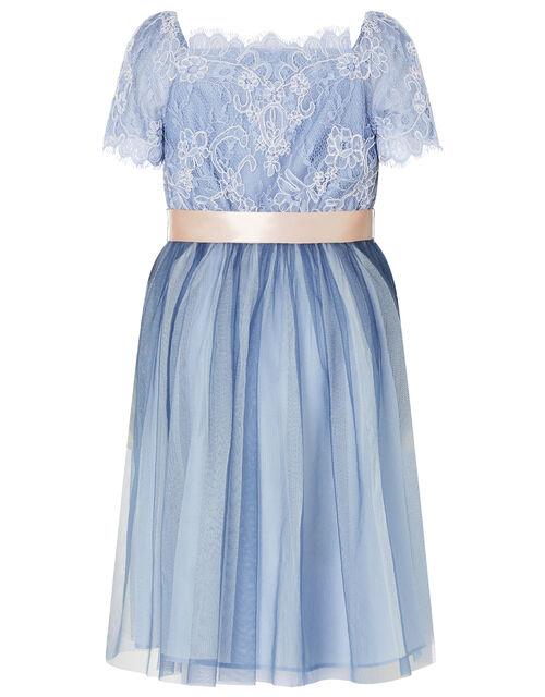 Lace Bodice Off-Shoulder Dress, Blue (BLUE), large
