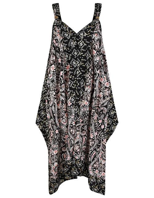 Foil and Paisley Print Dress in LENZING™ ECOVERO™, Black (BLACK), large