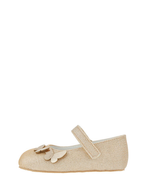 Baby Simone Butterfly Glitter Shoes, Gold (GOLD), large