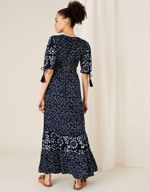ARTISAN STUDIO Mix Print Tiered Dress, Blue (NAVY), large